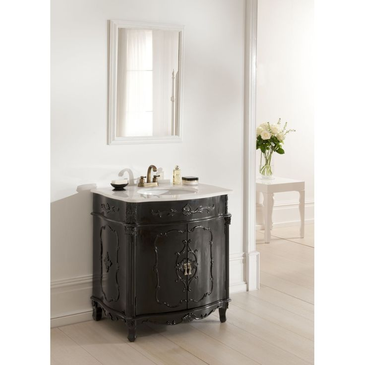 Brighten Up Your Home With This Stunning Black Antique French Vanity Unit At