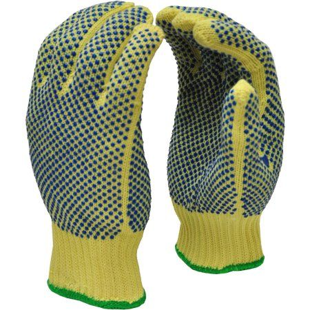 G & F Cut-Resistant 100 Percent Kevlar Gloves with PVC Dots on Both Sides, X-Large, 1 Pair, Yellow