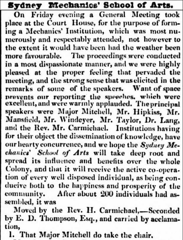 Extract of Newspaper Article on the founding of SMSA in 1833   (1833, March 25). The Sydney Herald (NSW : 1831 - 1842), p. 2. Retrieved May 8, 2012, from http://nla.gov.au/nla.news-article12846484