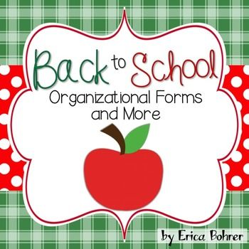 """This 100 page plus download contains organizational forms, letters, and more.  It contains: a parent communication log, parent questionnaire, lunch slip letter, lunch slips, class directory letter and directory form, project bag and folder letters, dismissal form, reproducible absent note, student information sheet, month by month important dates organizer, student computer id cards, wish list letters for amazon.com and teacherwishlist.com, desk fairy certificates, """"What to do when I'm…"""