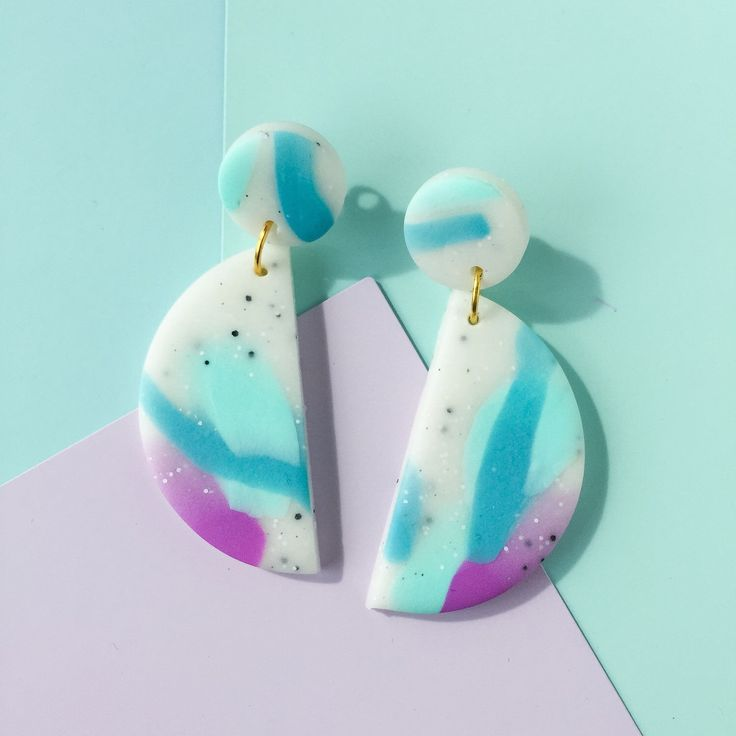 Makeforgood // Polymer Clay // Statement Earrings // White granite, blue & mauve by colourwork on Etsy https://www.etsy.com/au/listing/480533155/makeforgood-polymer-clay-statement