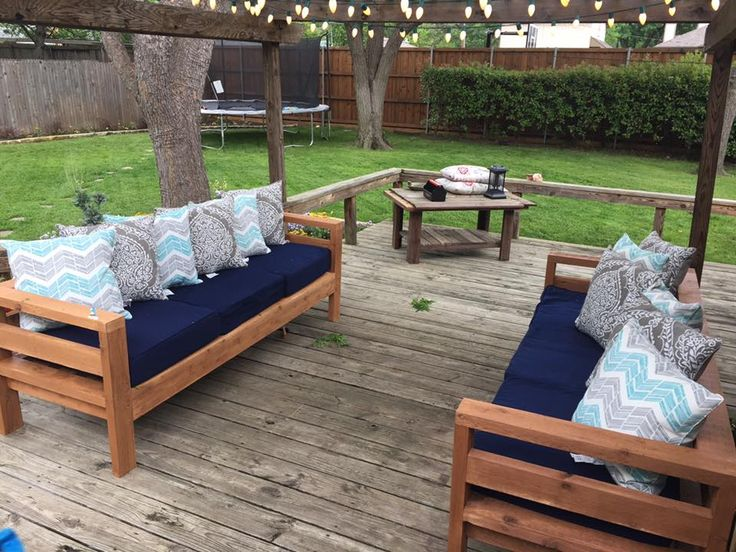 diy outdoor sofas by ana white create your own garden furniture and enjoy the fruits of your labour this summer these chic sofas are an addition to any
