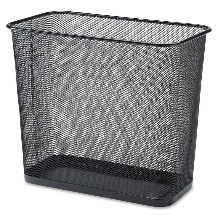 Buy a few of these for use down at the facility. Like these better than my round ones! Lorell Black Mesh Rectangular Waste Bin - 7.90 gal Capacity - Rectangular - 15-inch Height x 17-inch Depth - Steel - Black