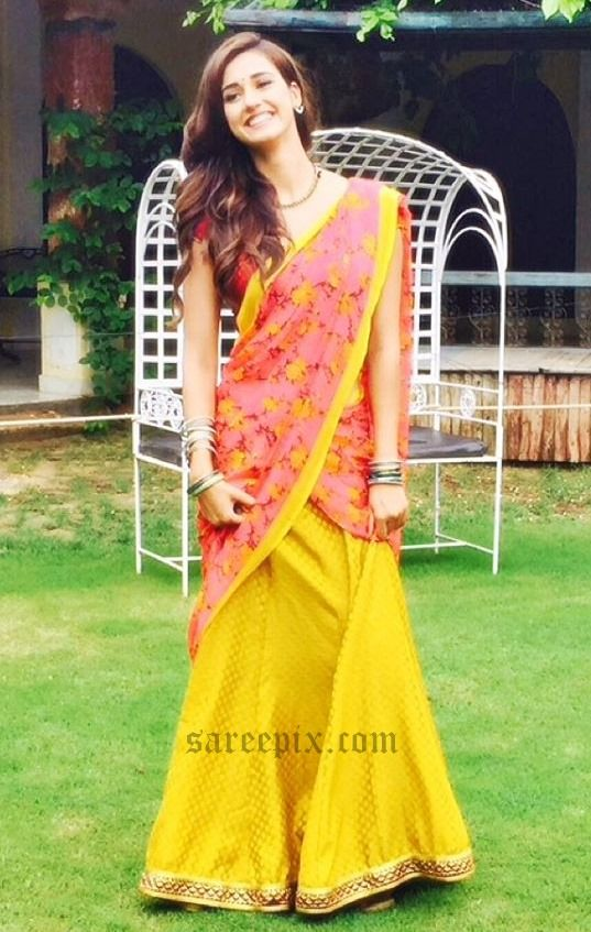 Model and actress Disha Patani in saree and half saree photos, posted on her Instagram profile. Tiger Shroff's girlfriend looks gorgeous in Sabyasachi brid