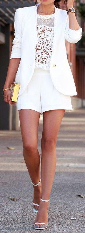 White suit & Gold clutch