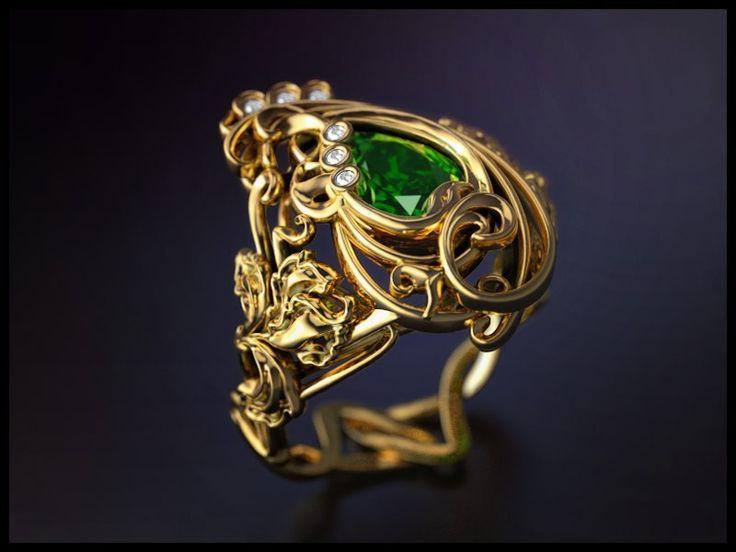 """The moderne"" ring for women / Кольцо в стиле модерн #jewelery #menjewelry #whitegold #gold #белоезолото #золото #изумруд #emerald #diamonds #бриллиант #exclusive #design #эксклюзив #ring #rings #lilly #лилия #jewelryformen #jewellery #ювелирныеукрашения #ювелирныеизделия #forwomen #style #accessories #аксессуары #кольца #кольцо #jewelrygram #дляженщин #franguebyzverev"
