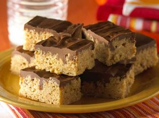 peanut butter rice krispies bars from Kellogs site uses no marshmellows!  Would be great topped with a chocolate drizzle or frosting.