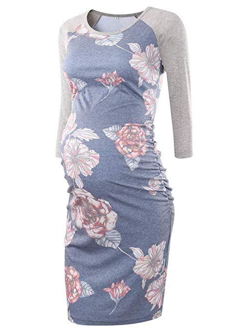 3351149974353 BBHoping Women's Baseball Raglan 3/4 Sleeve Maternity Dress Bodycon Dress  Pregnancy Clothes