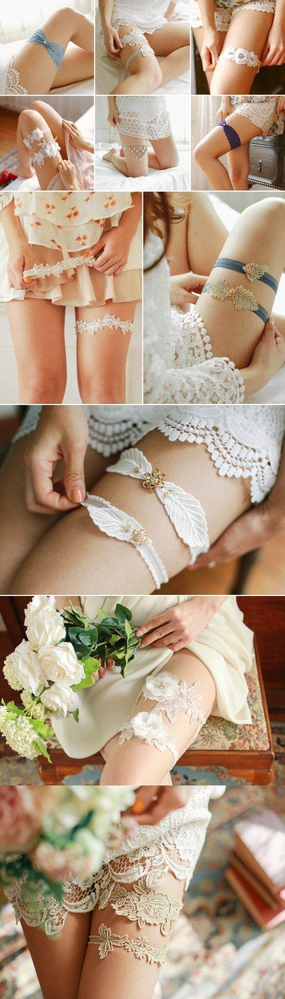 lace wedding garter set via louloudimeli / http://www.deerpearlflowers.com/wedding-garters-sets-from-etsy/