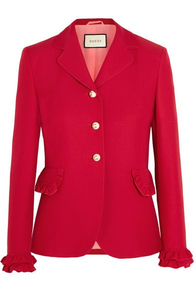 Gucci - Ruffled Wool And Silk-blend Jacket - Red