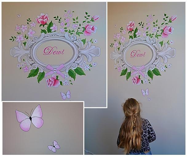 Nostalgische lijst met bloemen, vlinders, glitters en met naam | muurschildering | meidenkamer | www.groeneballon.nl