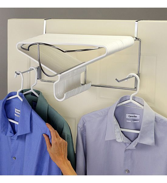 The Deluxe Over the Door Hanger Rack is a great way to organize hangers in the laundry room or closet.