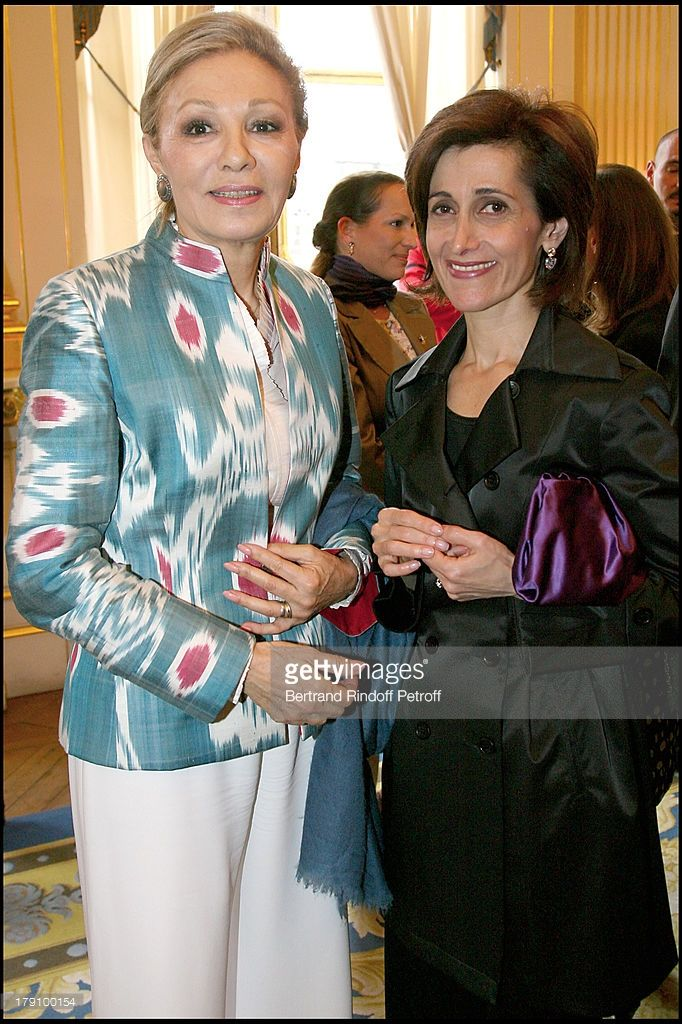 Empress Farah Pahlavi and Dina Kawar at Christine Albanel Presents The 'Grand Patron' And 'Grand Donor' Award To His Highness The Aga Khan At The Minister Of Culture.