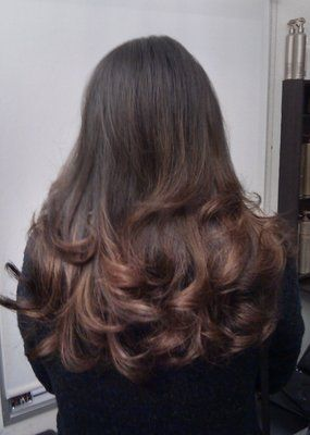 Natural looking balayage ombre on indian hair