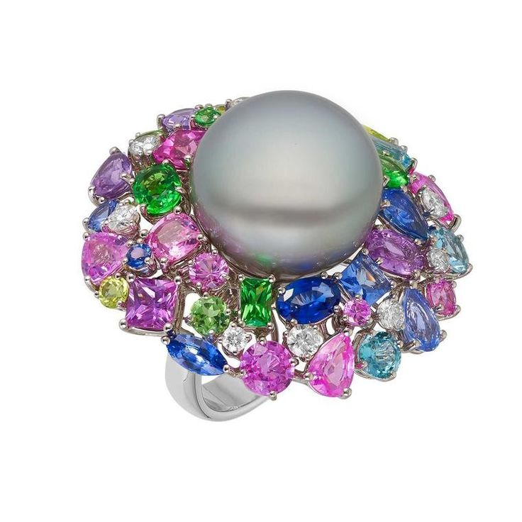 Margot McKinney Hibiscus Tahitian pearl cocktail ring with <b>multi</b> ...