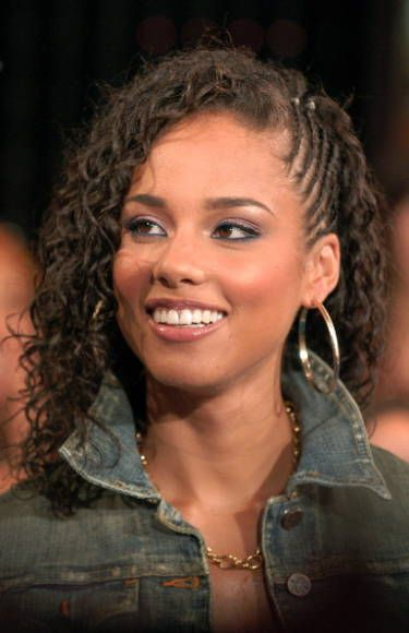 Best Undercut Braids - Undercut Braid Trend - Marie Claire: Alicia Keys at MTV Studios in Times Square for MTV's TRL on October 11, 2005