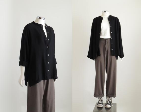 Black Minimalist Top, Womens Blouse, 90s Grunge Aesthetic, Chore Jacket, 90s Ove…