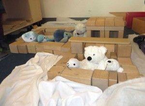 knuffels zoals ijsberen, pinguïns, zeehonden enz in de bouwhoek