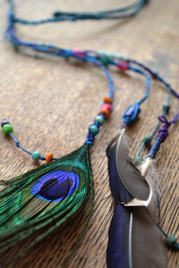 Colorful Macrame Headdress/ Hair Feather/ Headband/ by SpiritYSol, $28.00