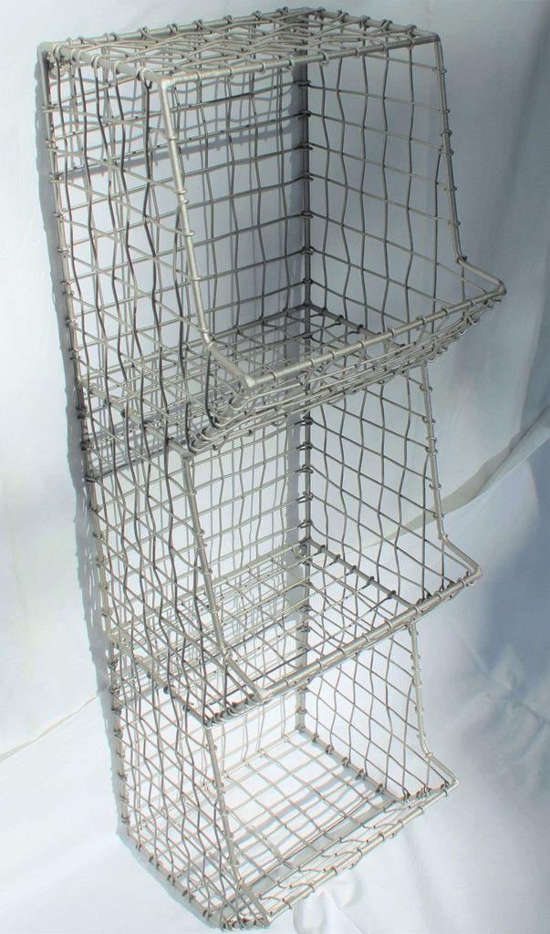 Glory & Grace Large Rustic Industrial Wall Mount Metal and Wire General Store Multi-Bin Storage Basket