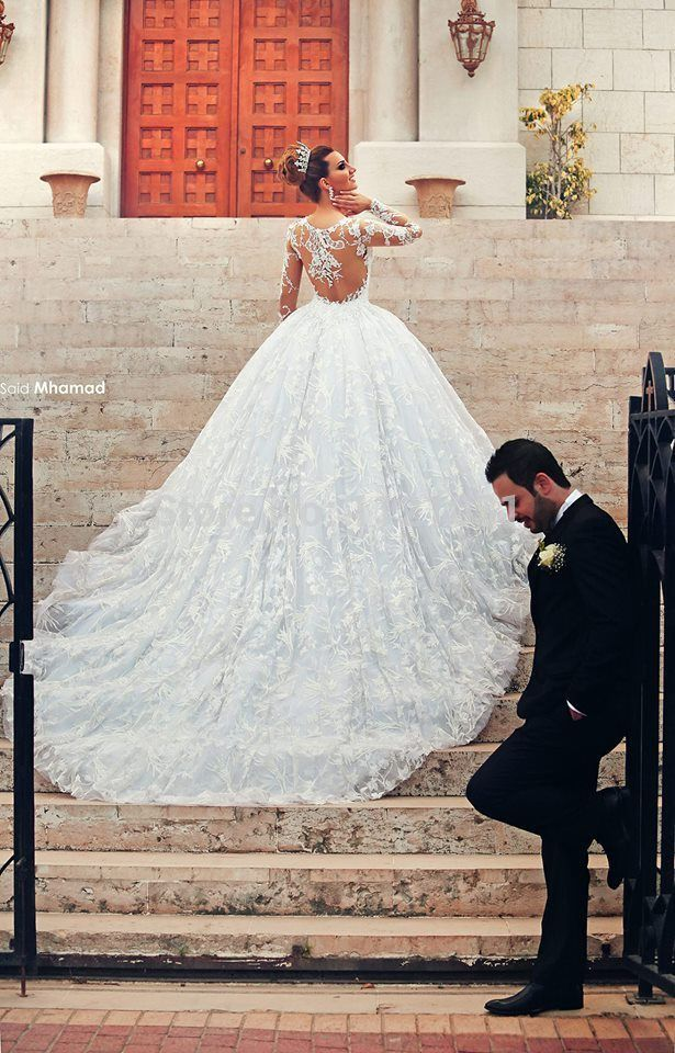Luxury Cathedral Train Long Sleeve Backless See through Lace Wedding Dresses Ball Gown Vestido de noiva DY-315