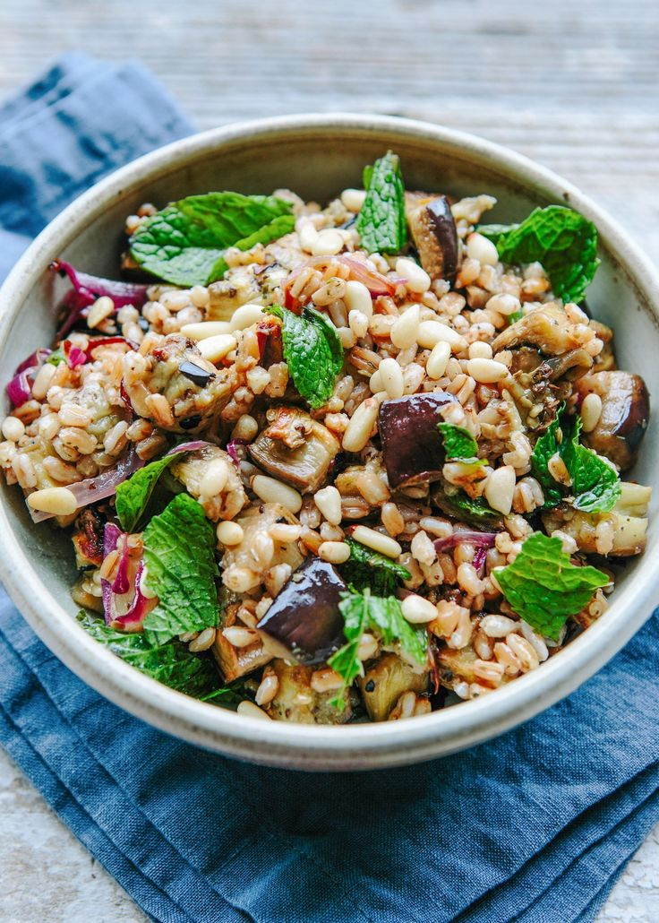 farro salad with roasted eggplant, carmelized onion, and pine nuts