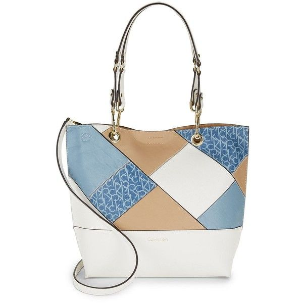 Calvin Klein Women's Leather Patchwork Reversible Satchel (400 BRL) ❤ liked on Polyvore featuring bags, handbags, denim, genuine leather handbags, genuine leather purse, white purse, calvin klein handbags and patchwork leather purse