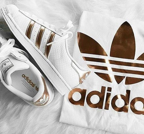 adidas, gold, and white image