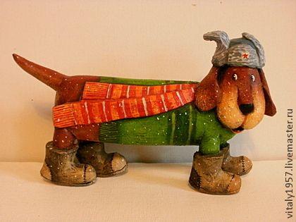 Собака. Хозяин будки Полкан . Скульптура. Ручная роспись - собака,Подарок собаководу