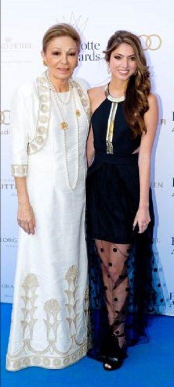 Former Persian Empress Farah Diba-Pahlavi (L) and her granddaughter Princess Noor of Iran arrive for the Bernadotte Art Awards 2014 at the Grand Hotel in Stockholm, 02 June 2014.