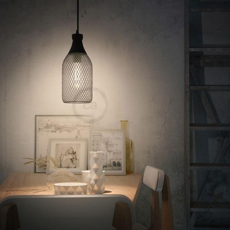 Jéroboam vorm draadframe lampenkap van gepolijst zwart metaal voor E27 fitting