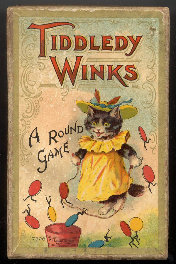 """McLoughlin Bros. game, """"Tiddledy Winks, A Round Game"""", publisher no. 7728, shows a smiling cat jumping rope on the cover"""