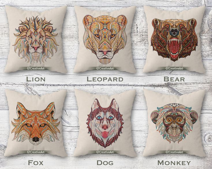 Patterned Animal Cushion Covers | Floral Animals Throw Pillow Cover Decor | Wild Lion Leopard Bear Fox Dog Monkey | Decorative Couch Pillows