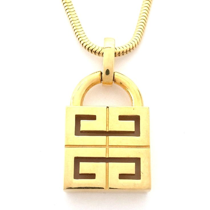 Authentic GIVENCHY Gold snake chain Necklace 1977 Double G logo Pendant #Givenchy #Chain