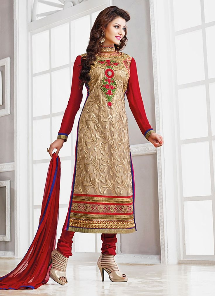 Divine Urvashi Rautela Cream Georgette Churidar Suit