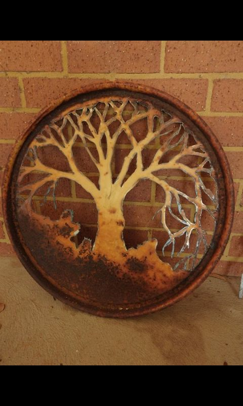 Tree of Life cut from a drum lid. Plasma cut by hand.