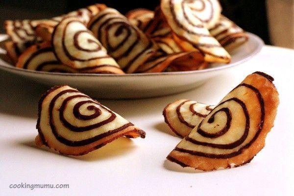 Tuile spirale au chocolat.