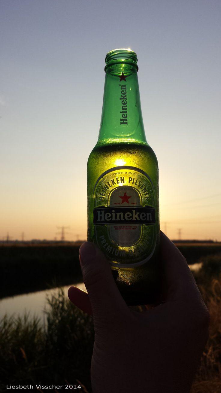 Heineken bottle sunset