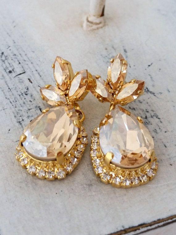 Champagne crystal Chandelier earrings Drop by EldorTinaJewelry | http://etsy.me/1MSDqif