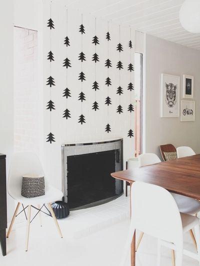Zwarte kerstboompjes boven de schouw Bron: Pinterest   ELLE