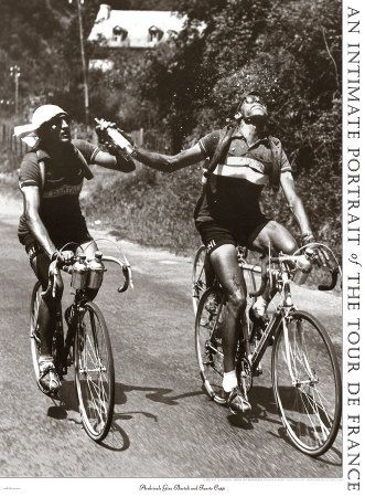 Coppi & Bartali sharing a drink. love these old pictures