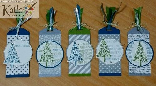Festival of Trees Stamp Set, Stampin' Up! handmade Gift Tags, Christmas Gift Tags, Scallop Tag Topper and Ornate Tag Topper Punch.