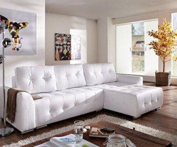 Ecksofa Tania 295x170 cm Weiss Couch mit Schlaffunktion