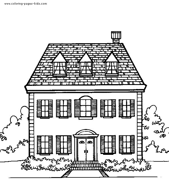 House Color Page Family People Jobs Coloring Pages Plate Sheet