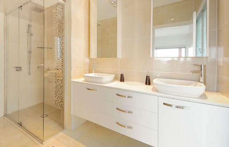 Corner shower, nib wall, vanity then bathroom wall. Would