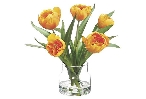 """10"""" Tulips in Vase, Yellow on OneKingsLane.com Faux blossoms are an effortless way to add life and color to a tabletop all year long. This one boasts the simple beauty of yellow tulips in a modern glass vase."""