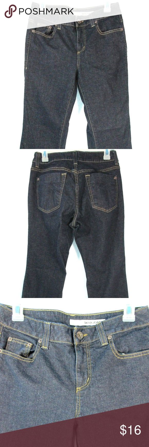 "DKNY Soho Boot Cut Womens Jeans Size 10 S DKNY Soho Boot Cut Women's Jeans Size 10 S Dark Indigo Wash. In very good used condition. No rips or stains. (D37)  Measurements: Waist 28.5"" Inseam 30"" Outseam 39.5"" Leg Opening 18.5"" Front Rise 9.5"" Back Rise 12.75"" Hips 37"" Dkny Jeans Boot Cut"
