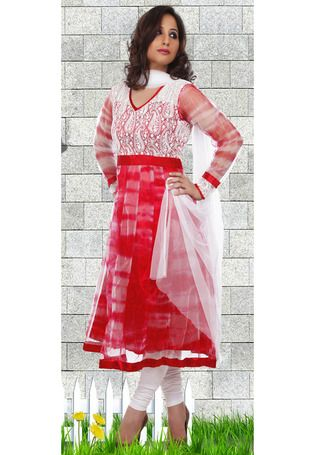 Red and Off White Net Kameez with Leggings
