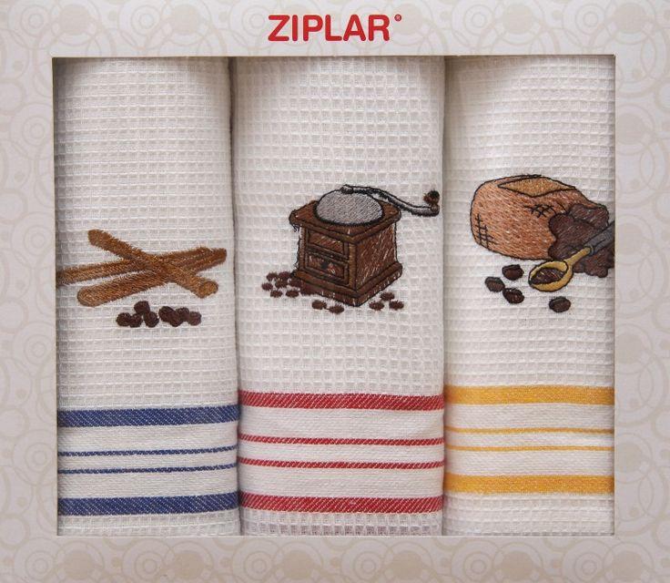 3- dílny kuchyňské utěrky s motivem kávových zrn