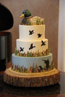 Grooms duck hunting cake